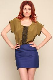 YoursNotHers Sheridan Top, Olive With Black Lace - Design Yours Today (photo courtesy of www.shoptiques.com)