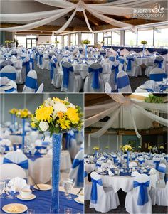 Royal blue and yellow wedding decor tall yellow centerpieces