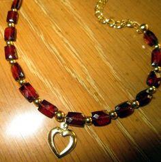 AAA Red Garnet Gemstone Open Heart Necklace by treasuresbycathy Beaded Jewelry, Jewellery, Garnet Gemstone, Red Garnet, Earring Set, Swarovski Crystals, Gemstones, Heart, Bracelets