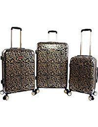 Women's Annabelle 3 Piece Set Suitcase with Spinner Wheels, Black/Gold|handbag outfit|handbag for fall|purse fashion|casual handbags|handbags and purses|vegan purse handbags|luggage ideas|luggage tips|luggage accessories|luggage travel|travel luggage suitcases|packing luggage|travel luggage carry on|best travel luggage #handbags and accessories #LeatherHandbagsMen