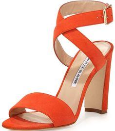 "Manolo Blahnik ""Tondala"" Suede Ankle-Wrap Sandal in Orange"