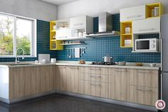 Looking for small kitchen backsplash ideas? Small Kitchen Backsplash, Kitchen Tiles Design, Modern Kitchen Cabinets, Kitchen Cabinet Design, Modern Kitchen Design, Interior Design Kitchen, Kitchen Wardrobe Design, L Shape Kitchen Layout, Kitchen Ceiling Design