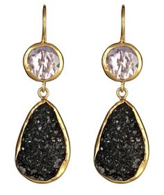 2 Stone Drops Amethyst & Black Druzy