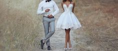 For outdoor wedding it is better to choose a short wedding dresses. They are so comfortable for the bride and can be different style and include train.