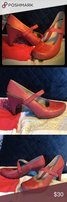 Red Leather Tsubo Sling Back Mary Jane Heels Very individualistic. Tsubo always makes out of the box shoes. These are red leather, Velcro Mary Jane strap, sling backs. They do have some scuffing on the toes, nothing shoe polish can't fix. Tsubo Shoes Heels