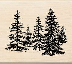 Inkadinkado Wood Mounted Rubber Stamp DD-Stand Of Pines. These rubber stamps feature a hardwood base with an indexed edg