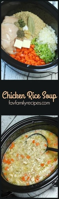 Slow Cooker Chicken and Rice Soup is an easy chicken soup recipe.  All of the raw ingredients go in the slow cooker and a nice, warm soups awaits six hours later. via @favfamilyrecipz