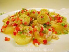 Ensalada de patatas con vinagreta de pimientos