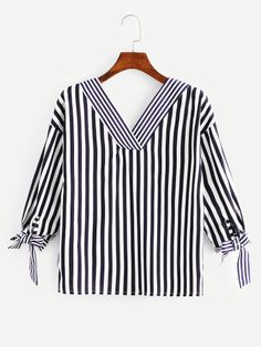 Shop Knot Side Striped Blouse online. SheIn offers Knot Side Striped Blouse & more to fit your fashionable needs.
