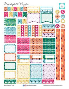 Free Printable Polka Dot Planner Stickers Weekly Kit - Organized and Happier