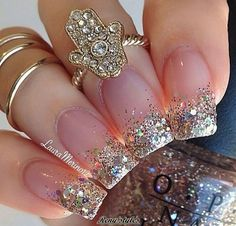 Glitter Nails Acrylic Sparkle, Glittered Gold, Gold Glitter Nails Acrylic, Sparkle Tipped, Acrylic Nails Tips is part of Gel nails Babyboomer French Manicures - Gel nails Babyboomer French Manicures Fancy Nails, Love Nails, Black Sparkle Nails, Chunky Glitter Nails, Style Nails, Glitter Hair, Glitter Heels, Bling Nails, Bling Bling