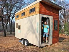 "College Student Builds 145 Sq. Ft. Tiny House-001. This THOW, built by an enterprising young man, has a lot to offer for a bachelor pad. It needs little to make it more livable though - a larger fridge, a bigger sink, a bit more clothing and ""stuff"" storage, and a few more square feet in which to do it all. Love it!"