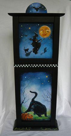 OOAK ORIGINAL PAINTING HALLOWEEN WALL MANTLE CLOCK WITCH BLACK CAT MAN IN MOON #FolkArtRealism
