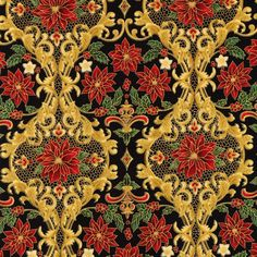 Designed by Peggy Toole for Robert Kaufman, Holiday Flourish 12 - Gold Metallic Winter Florals on Black fabric is great for quilting, apparel and home decor. Gray Tree, Black Tree, Hanging Quilts, Quilted Wall Hangings, Charm Quilt, How To Make Brown, Panel Quilts, Robert Kaufman, Christmas Fabric