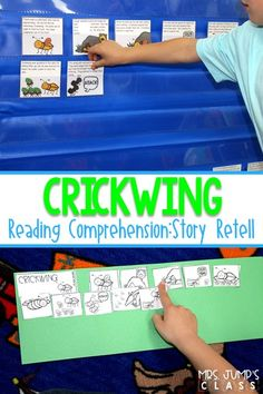 Reading comprehension lesson plans for the book, Crickwing. Retelling cards and independent practice for kindergarten, 1st, and 2nd grade. #crickwing #kindergarten #firstgrade #secondgrade #readingcomprehension