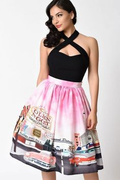 Unique Vintage Viva Las Vegas High Waist Swing Skirt Strawberry
