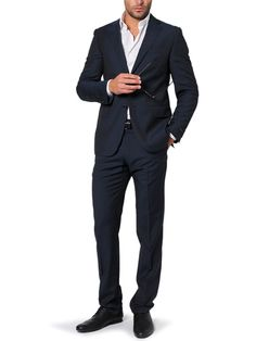 Two-button, plain, navy blue suit - perfect for an interview - don't try to be fancy with pinstripes or checks