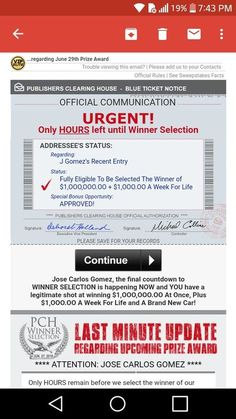 Publishers clearing house i jose carlos gomez claim prize day promotion card bulletin id code PCH-AAA for activation and to win it. Instant Win Sweepstakes, Online Sweepstakes, Lotto Winning Numbers, Win For Life, Lottery Winner, Publisher Clearing House, Congratulations To You, Lucky Penny, The Selection