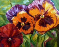 Pansy Melody Oil Painting Flower Art Still Life Botanicl Floral Gardens, painting by artist Debra Sisson Simple Acrylic Paintings, Pansies, Oil Painting Flowers, Flower Paintings, Oil Paintings, Flower Art, Daily Painters, Flower Pictures, Beginner Painting