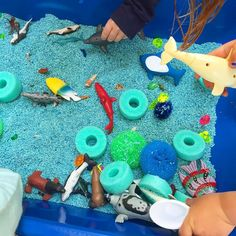 This is SUCH a simple sensory table blue rice, ocean animals, a sliced up pool noodle, and dish scrubbers. So many textures and opportunities for pretend play and storytelling! Sensory Table, Sensory Play, Preschool Lessons, Preschool Activities, Ocean Bulletin Board, Preschool Tables, Underwater Theme, Beach Activities, Pool Noodles