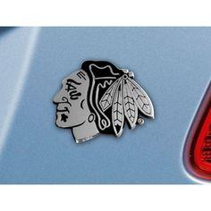 Chicago Blackhawks NHL Chrome Car Emblem 2.3in x 3.7in