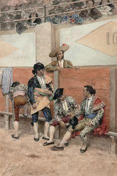 Foto: Descanso en la corrida de Toros. De Joaquín Agrasot Joaquín Agrasot (1836 - 1919) fue un pintor alicantino que cultivó el género realista y el costumbrista. Esta acuarela representa a los miembros de una cuadrilla esperando el anuncio del primer toro. Agrasot era un gran aficionado taurino como se puede comprobar con el exquisito detalle con el que representa los trajes de cada uno de los miembros de la cuadrilla, incluido el picador. Se cree que el torero situado de la derecha es…