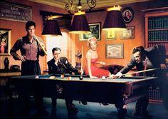 14515 - CELEBRIDADE - James Dean, Marilyn Monroe, Elvis Plesley,Humpley Bogart - Pintura -  - 41x29-.