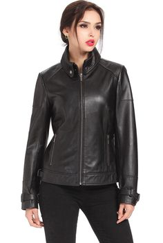 "Cruzer Women's ""Melanie"" Cowhide Leather Motorcycle Jacket. Check out this great style for $199.99 on Luxury Lane. Click on the image above to get a coupon code for 10% off on your next order."