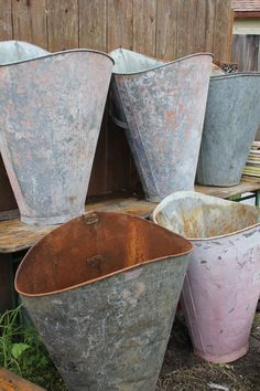 antique flower buckets