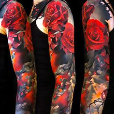 Full Sleeve Tattoo Daily Tattoo Ideas Here we have great picture about full arm tattoo designs black white. We wish these photos can be yo. Half And Full Sleeve Tattoos, Full Arm Tattoos, Tribal Tattoos For Men, Japanese Sleeve Tattoos, Rose Tattoos, Tattoos For Guys, Flower Tattoos, Tatoos, Best Leg Tattoos