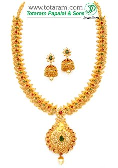 22K Gold 'Peacock' Long Necklace&Ear Hangings Set with Uncut Diamonds