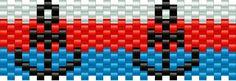Anchor Kandi Pattern Pony Bead Patterns, Kandi Patterns, Peyote Patterns, Beading Patterns, Stitch Patterns, Seed Bead Crafts, Beaded Banners, Beaded Earrings Native, Peyote Beading
