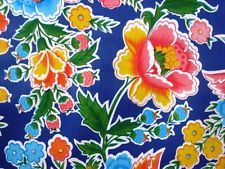 BLUE ZOYA FLORAL MEXICAN FIESTA KITCHEN DINING OILCLOTH VINYL TABLECLOTH 48x60