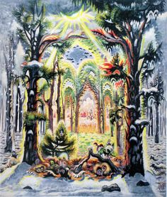 "Charles Burchfield, The Four Seasons, 1949–60, Watercolor on pieced paper mounted on board, 56"" x 48"", Krannert Art Museum and Kinkead Pavilion, University of Illinois, Urbana-Champaign"