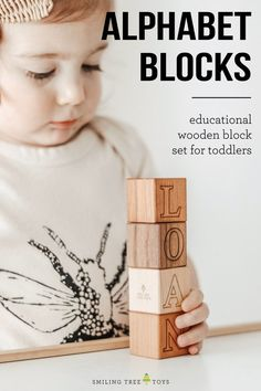 Our hardwood alphabet block set is a classic gift for any age. Each block in  this 26-piece set features an uppercase letter on one side with its lowercase counterpart on the opposite side. A true heirloom toy set that will last for years! #woodentoys #woodblocks #educationaltoys Wooden Baby Blocks, Wooden Alphabet Blocks, Wooden Baby Toys, Unique Baby Gifts, New Baby Gifts, Gifts For Kids, Handmade Gifts, Baby Boy Toys, Toddler Toys