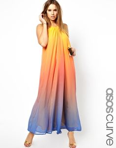 ASOS CURVE Rainbow Maxi Dress With Necklace Trim
