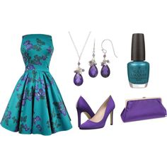 Teal and Purple Butterfly Themed Outfit featuring SJP and OPI High Heel Pumps, Pumps Heels, Themed Outfits, Purple Butterfly, Opi, Teal, Fashion Looks, Purses, Summer Dresses