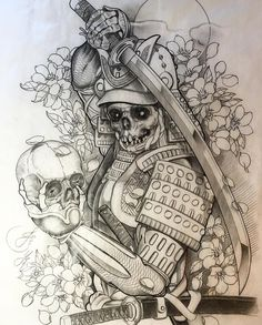Newly and custom designed Ghost Samurai for upcoming full sleeve tattoo. Thank…