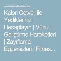 Kalori Cetveli ile Yediklerinizi Hesaplayın | Vücut Geliştirme Hareketleri | Zayıflama Egzersizleri | Fitness Hareketleri