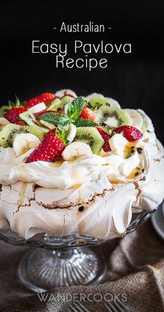 Australian Pavlova Easy Australian Pavlova Dessert Recipe - Crunchy, chewy meringue with lashings of sweet cream, fruit and topping ideas. Lemon Curd Pavlova, Strawberry Pavlova, Meringue Pavlova, Meringue Desserts, Trifle Desserts, Mini Pavlova, Pavlova Toppings, Christmas Pavlova, Dessert