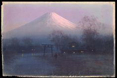 Tosuke S (watercolour artist) - Village by Mt Fuji at Dawn Date: 1920s/30s
