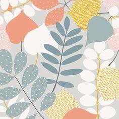 P & B Textiles House Designer - Contours - Botanical in Silver
