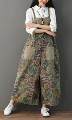 f5b34fad856 Amazing Print Straps Pockets Loose Vintage Jumpsuit for Women on Newchic