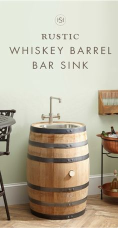 When paired with a sleek faucet, the Edison Whiskey Barrel Bar Sink from Signature Hardware is perfect for adding industrial style to your man cave. This unique focal point is rustic fall style at its finest.