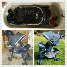 Cleaning Stroller. Basket was stained and filthy from being stored in a basement. Fill tub with extremely hot water and soak in 1 Tide Pod, 1 cup of Vinegar and 1/4 cup baking soda. i soaked for 1 hour...