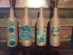 DIY home decor on a budget. Twine wine bottles.