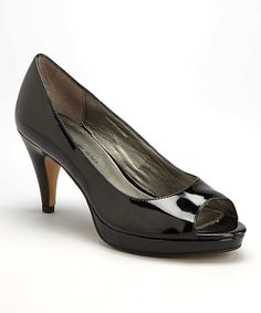 Look at this Black Patent Mylah Peep-Toe Pump on #zulily today!
