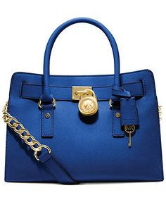 """MICHAEL Michael Kors Hamilton Saffiano Leather E/W Satchel in brown or """"luggage"""" as they name the color...the royal blue is really nice too"""