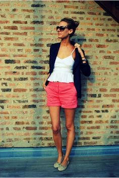 colorful j crew shorts make for a fun and comfy summer look