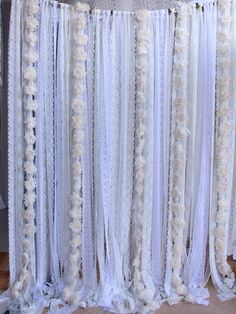 White Lace Flowers Backdrop Props Wedding Ceremony Stage Birthday Baby Shower Party Garland